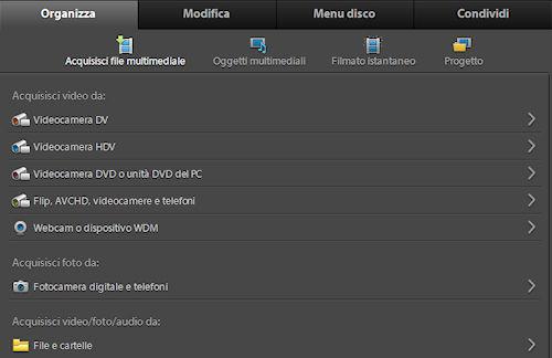 Adobe Premiere Elements 9: elenco acquisizione filmati da periferiche e supporti esterni