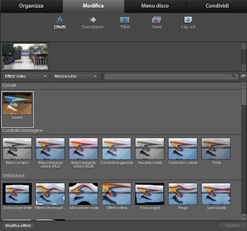 Adobe Premiere Elements 9: elenco effetti disponibili