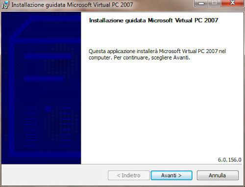 Installazione Microsoft Virtual PC