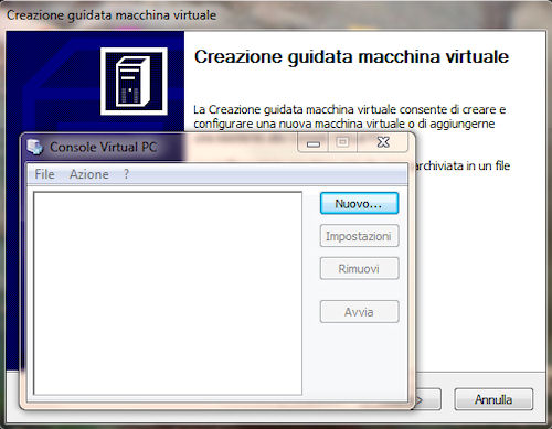 Microsoft Virtual PC: Console e creazione guidata macchina virtuale
