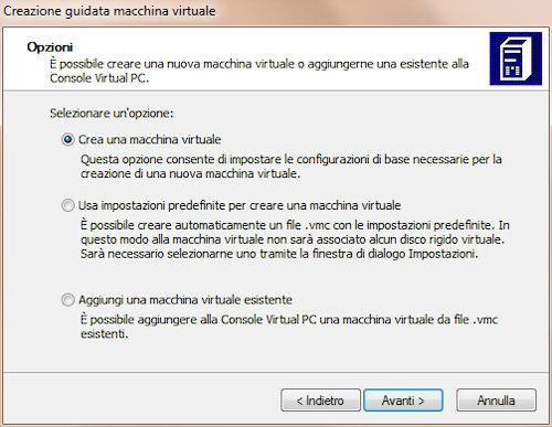 Microsoft Virtual PC: Opzioni creazione macchina virtuale