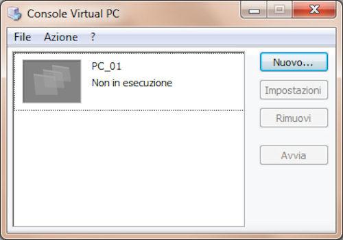 Microsoft Virtual PC: Esempio di macchina virtuale creata