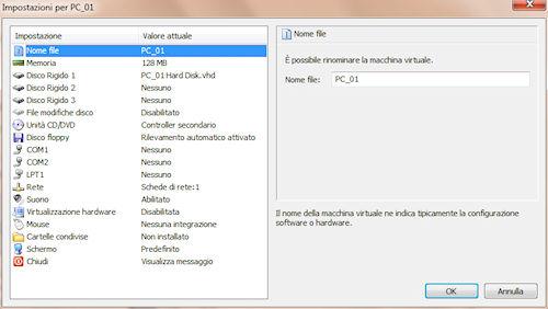 Microsoft Virtual PC: Pannello impostazioni macchina virtuale