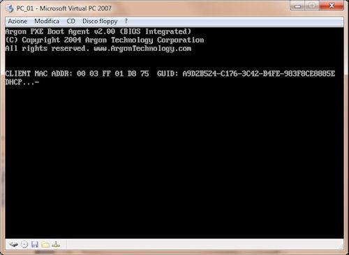 Microsoft Virtual PC: Esempio di avvio installazione sistema operativo