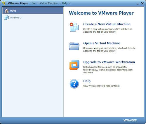 VMware Player: Finestra principale