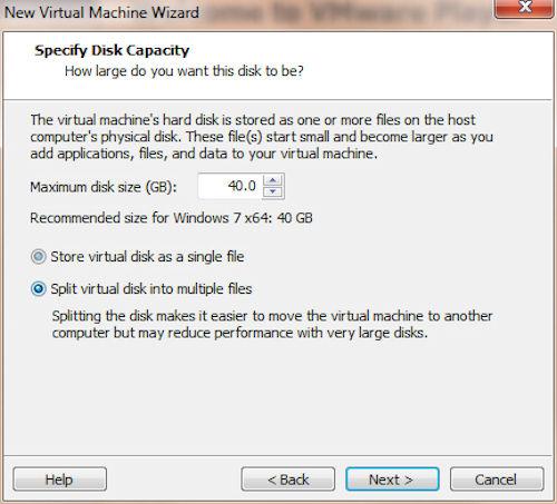 VMware Player: Definizione capacità disco fisso