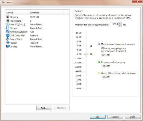 VMware Player: Pannello impostazioni macchina virtuale