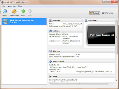 VirtualBox: Finestra principale