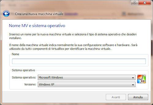 VirtualBox: Assegnazione nome
