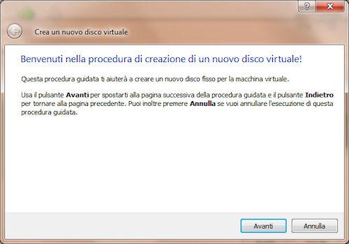VirtualBox: Procedura guidata definizione disco virtuale