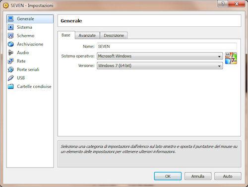 VirtualBox: Pannello impostazioni macchina virtuale