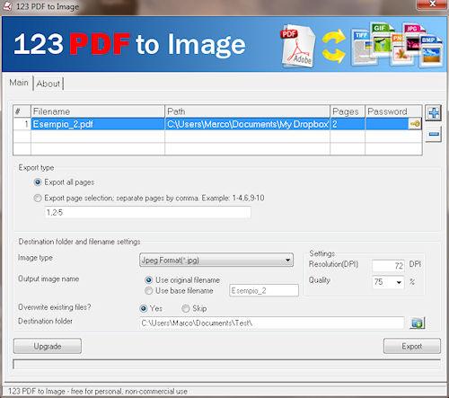 123 PDF to Image: Interfaccia utente