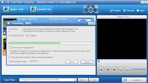 Total Video Converter: Esempio di conversione in corso