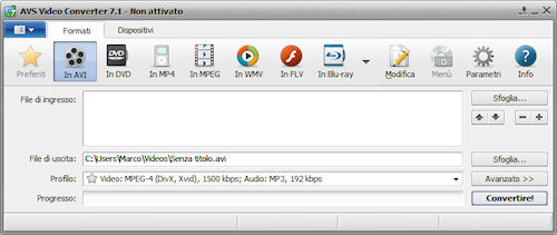 AVS Video Converter: Interfaccia utente
