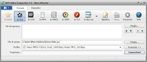 AVS Video Converter: Interfaccia utente