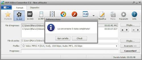 AVS Video Converter: Esempio di conversione portata a termine