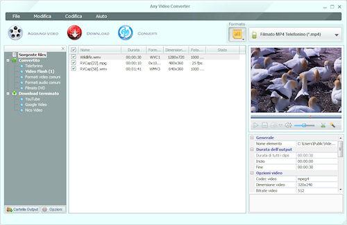 Any Video Converter: Interfaccia utente