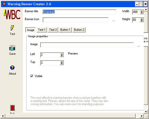 Warning Banner Creator: Interfaccia utente