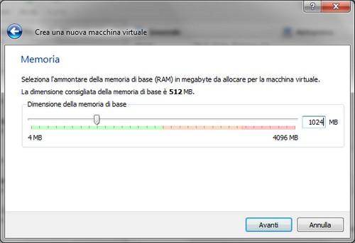 VirtualBox: Allocazione memoria RAM macchina virtuale
