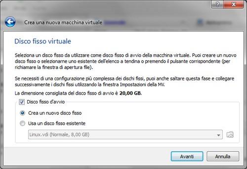 VirtualBox: Selezione capacità disco fisso virtuale