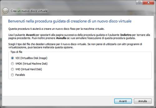 VirtualBox: Procedura guidata creazione disco fisso virtuale