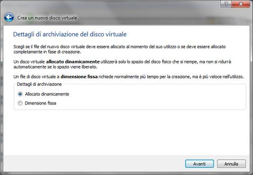 VirtualBox: Selezione metodo di archiviazione