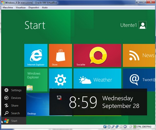 Windows 8: Finestra iniziale Windows 8 Developer Preview
