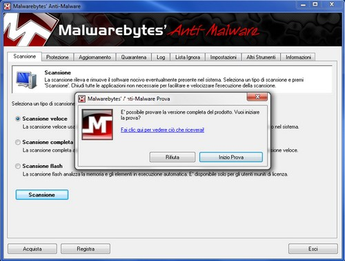 Malwarebytes Anti-Malware: Finestra iniziale