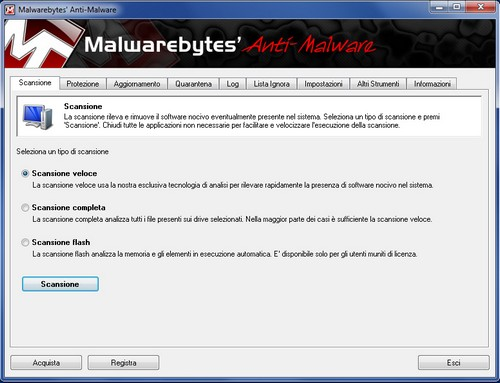 Malwarebytes Anti-Malware: Sezione Scansione