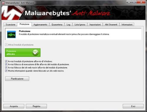 Malwarebytes Anti-Malware: Sezione Protezione