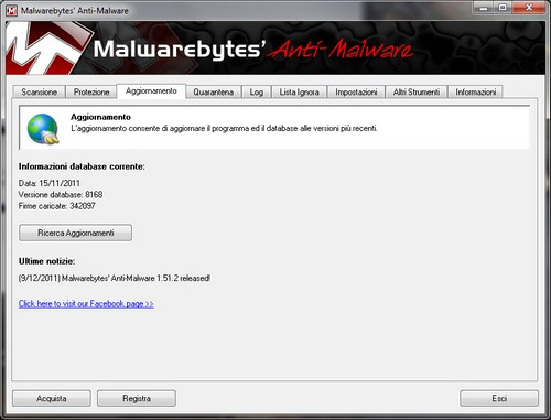 Malwarebytes Anti-Malware: Sezione Aggiornamento
