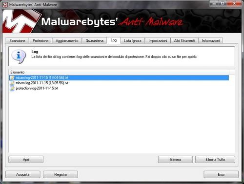Malwarebytes Anti-Malware: Sezione Log