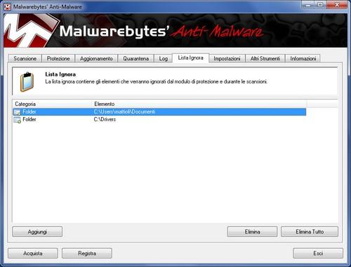 Malwarebytes Anti-Malware: Sezione Lista Ignora