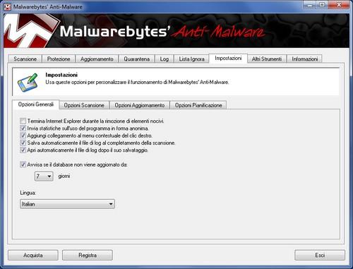 Malwarebytes Anti-Malware: Sezione Impostazioni - Opzioni Generali