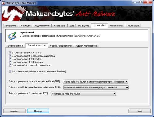Malwarebytes Anti-Malware: Sezione Impostazioni - Opzioni Scansione
