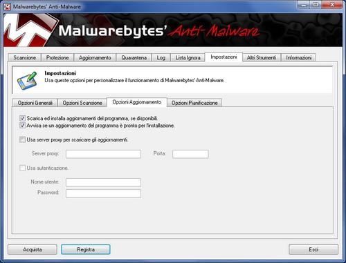 Malwarebytes Anti-Malware: Sezione Impostazioni - Opzioni Aggiornamento