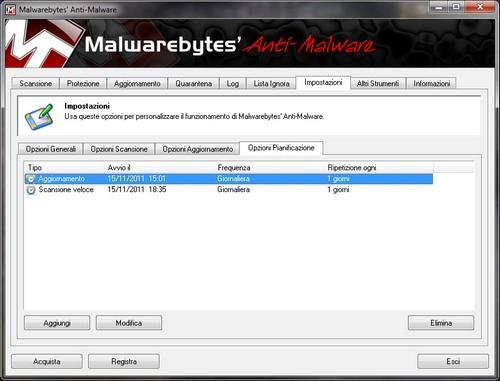 Malwarebytes Anti-Malware: Sezione impostazioni - Opzioni Pianificazione