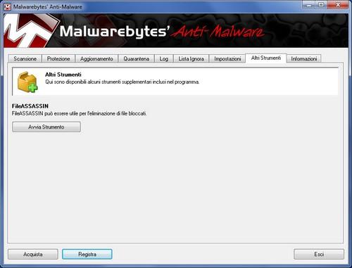 Malwarebytes Anti-Malware: Sezione Altri Strumenti