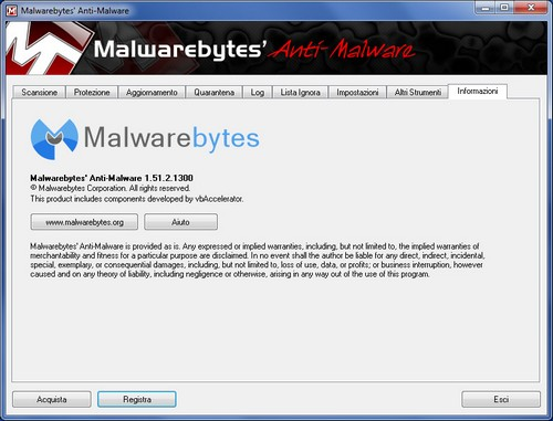 Malwarebytes Anti-Malware: Sezione Informazioni