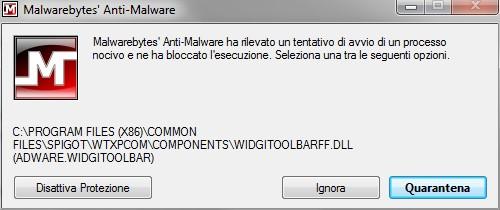 Malwarebytes Anti-Malware: Esempio di rilevazione processo potenzialmente dannoso