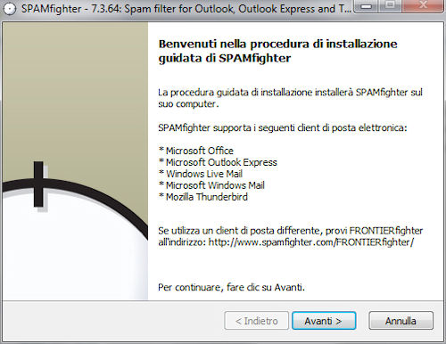 Procedura di installazione di Spamfighter