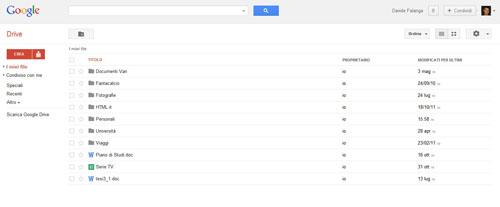 L'interfaccia Web di Google Drive