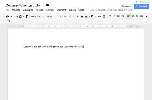 L'editor di testo online di Google drive