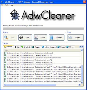 screenshot Adwcleaner