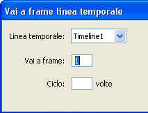 Appliczione del comportamento Vai a frame Linea Temporale