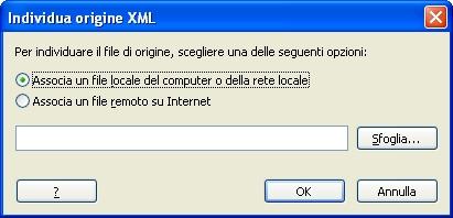 Finestra Origine XML
