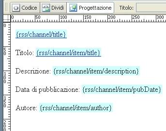 Visualizzazione frammento XSLT