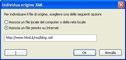 Individua origine XML