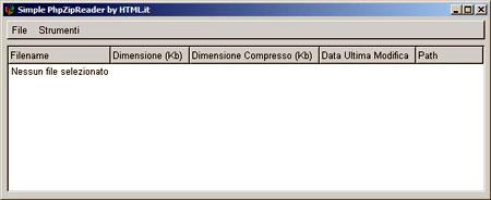 Una finestra di sistema con alcuni menu e le caratteristiche del file compresso