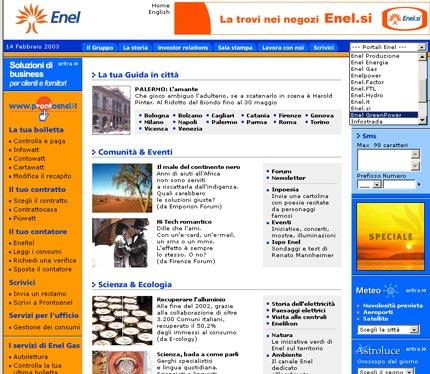 Homepage del sito Enel, con navigazione per sottositi